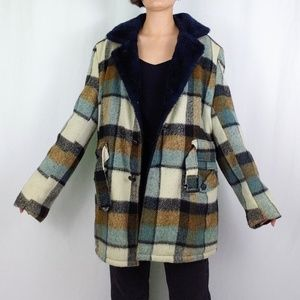 70's men's plaid belted shearling coat